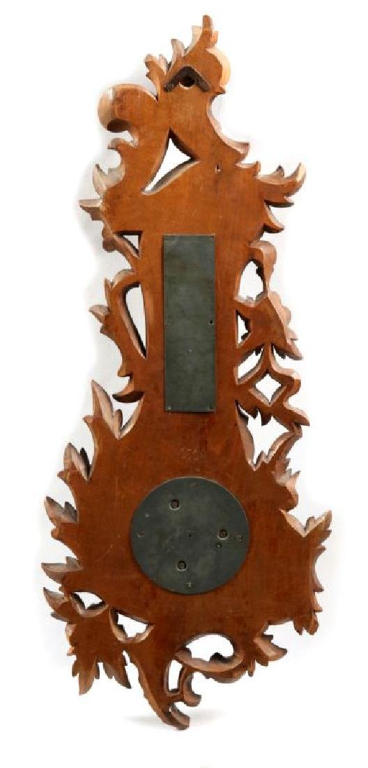 A HIGHLY CARVED 19TH C. THERMOMETER BAROMETER - 6