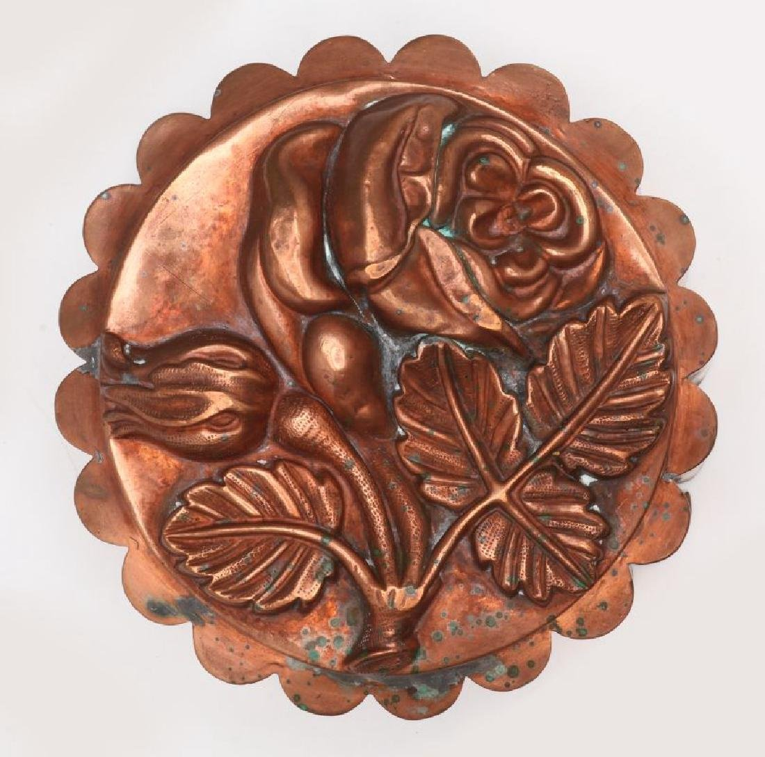AN ANTIQUE COPPER ROSE FORM FOOD MOLD