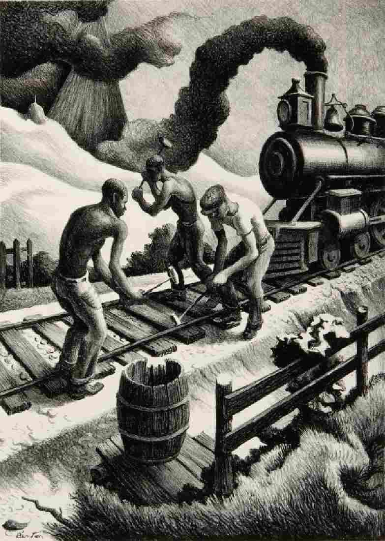 THOMAS HART BENTON (1889-1975) PENCIL SIGNED LITHO