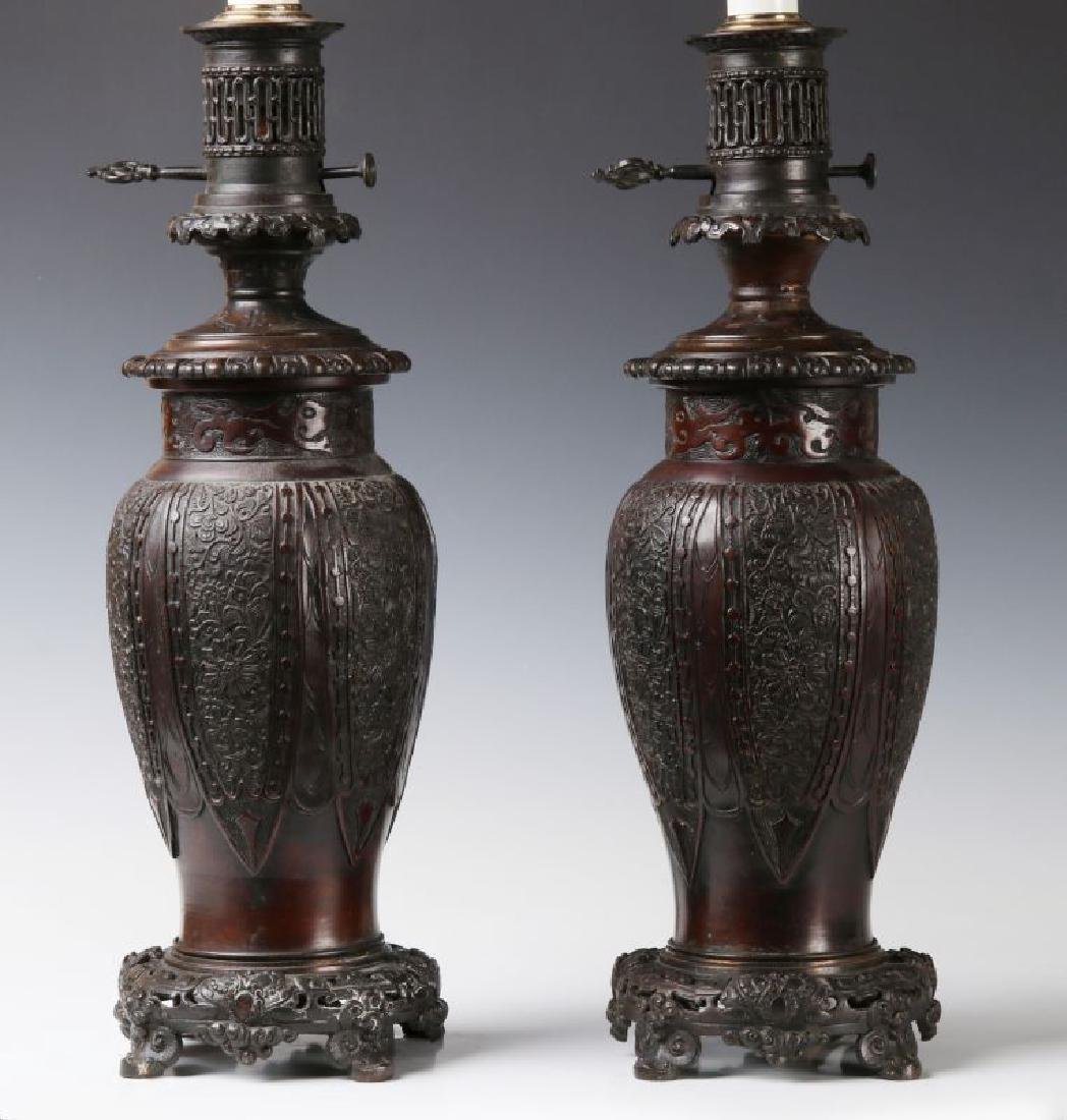 19TH C. FLUID LAMPS IN THE FORM OF CHINESE BRONZE - 10