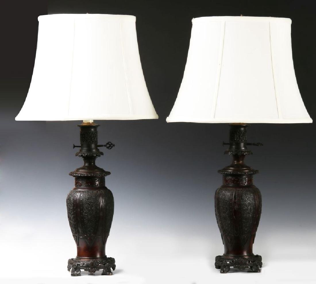 19TH C. FLUID LAMPS IN THE FORM OF CHINESE BRONZE