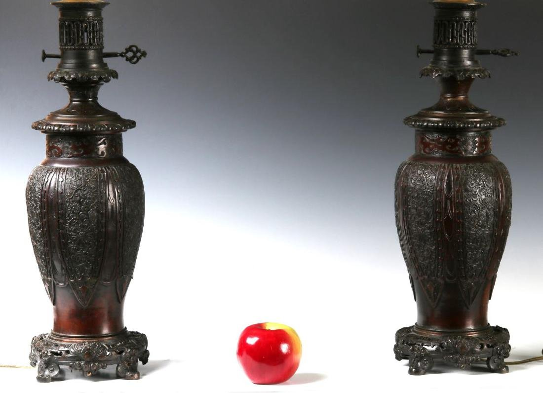 19TH C. FLUID LAMPS IN THE FORM OF CHINESE BRONZE - 3