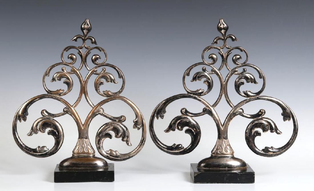 A PAIR 19TH C. FRENCH SILVER PLATED BRONZE ORNAMENTS