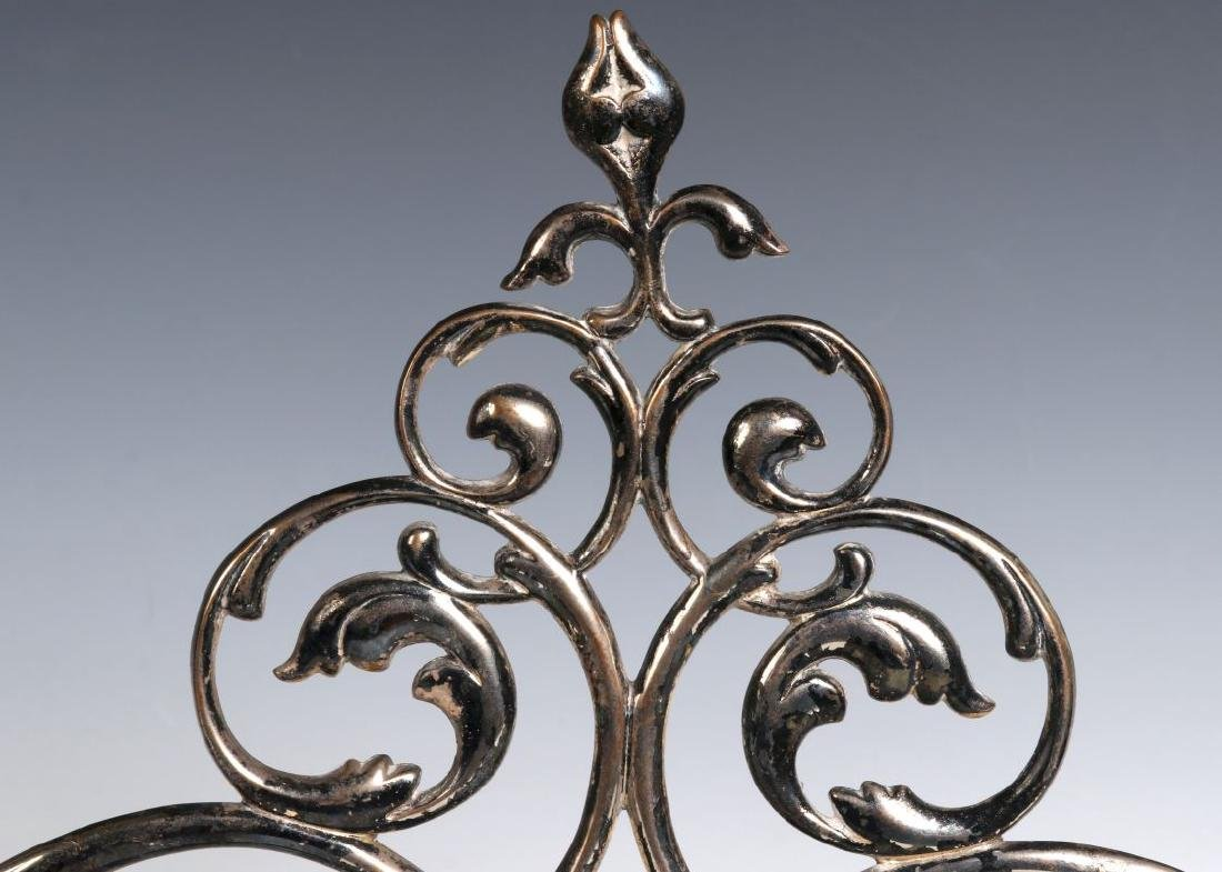 A PAIR 19TH C. FRENCH SILVER PLATED BRONZE ORNAMENTS - 5