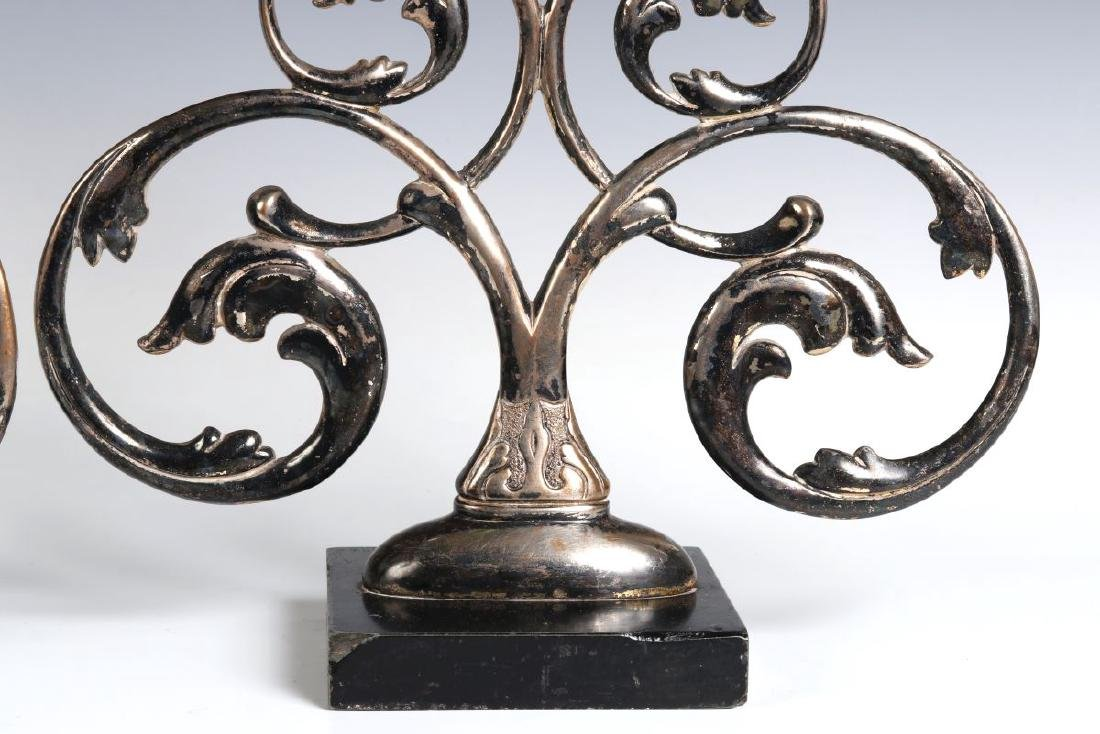 A PAIR 19TH C. FRENCH SILVER PLATED BRONZE ORNAMENTS - 6