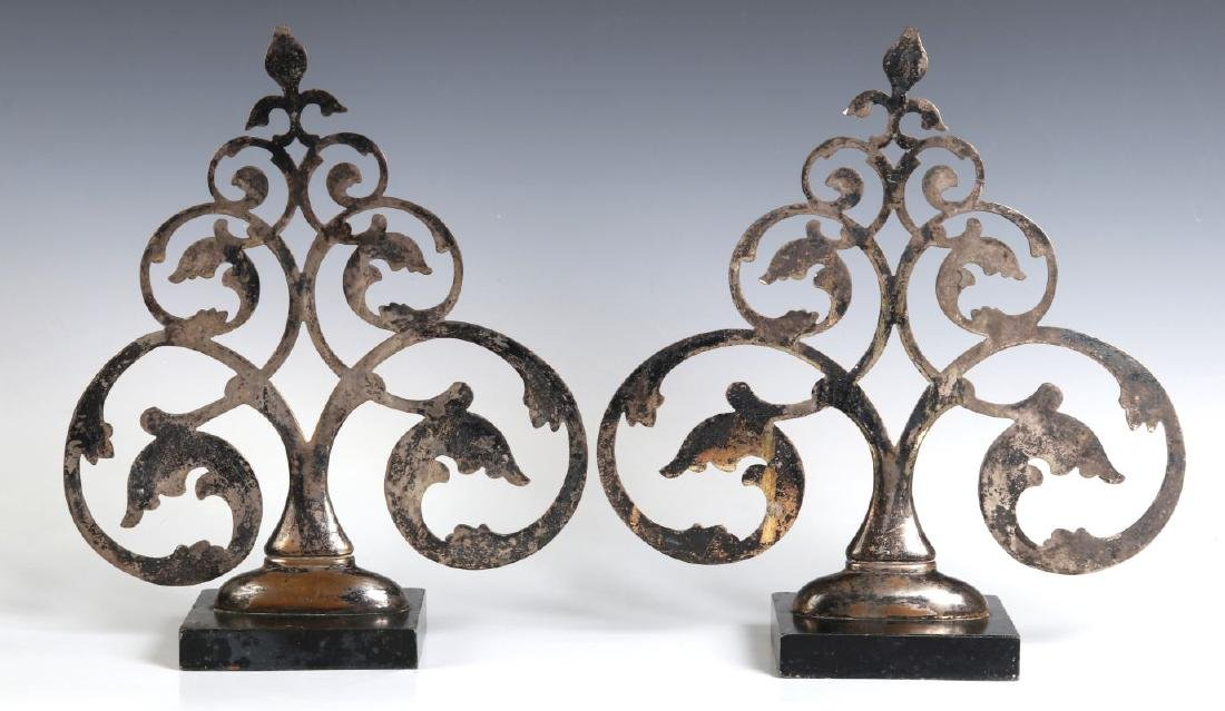 A PAIR 19TH C. FRENCH SILVER PLATED BRONZE ORNAMENTS - 8