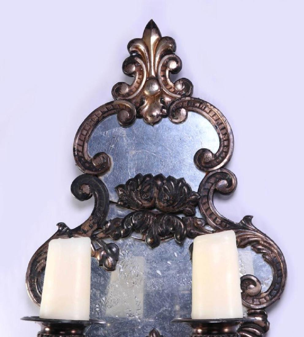 EXCEPTIONAL MIRRORED GIRANDOLE WALL SCONCE PAIR - 10