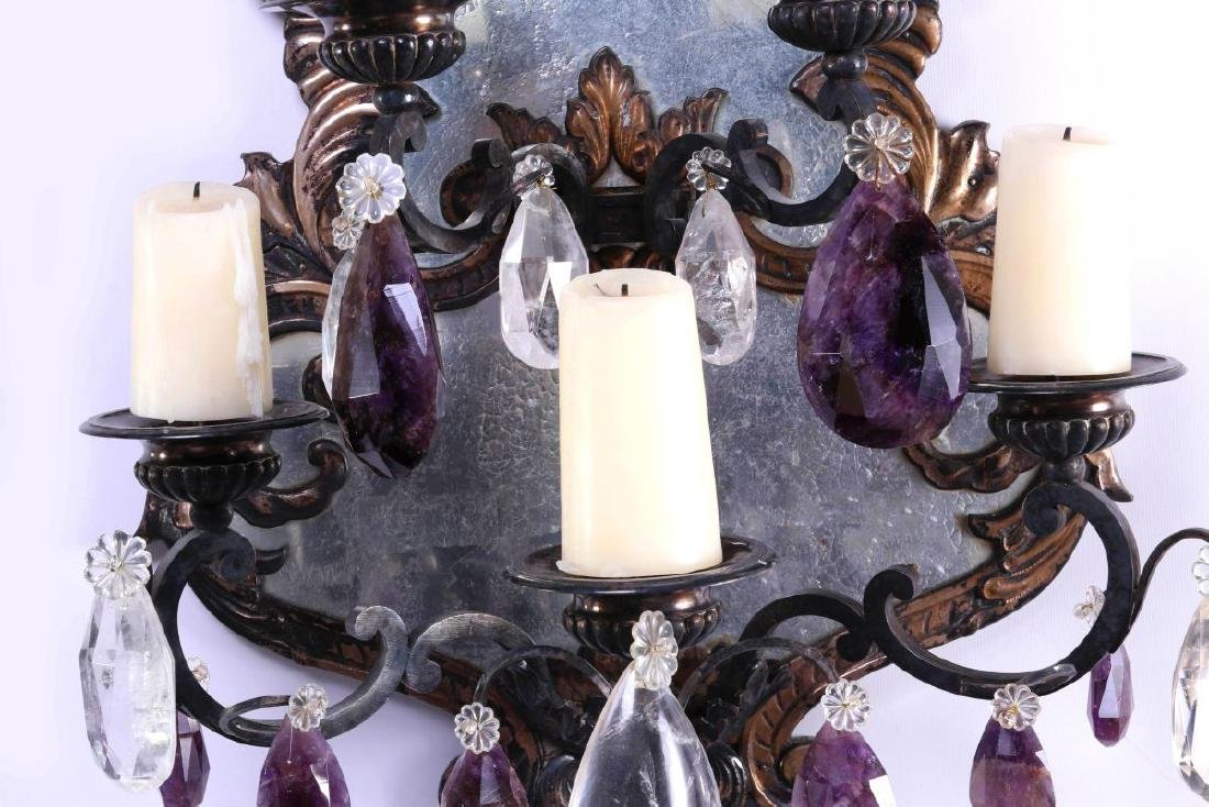EXCEPTIONAL MIRRORED GIRANDOLE WALL SCONCE PAIR - 11