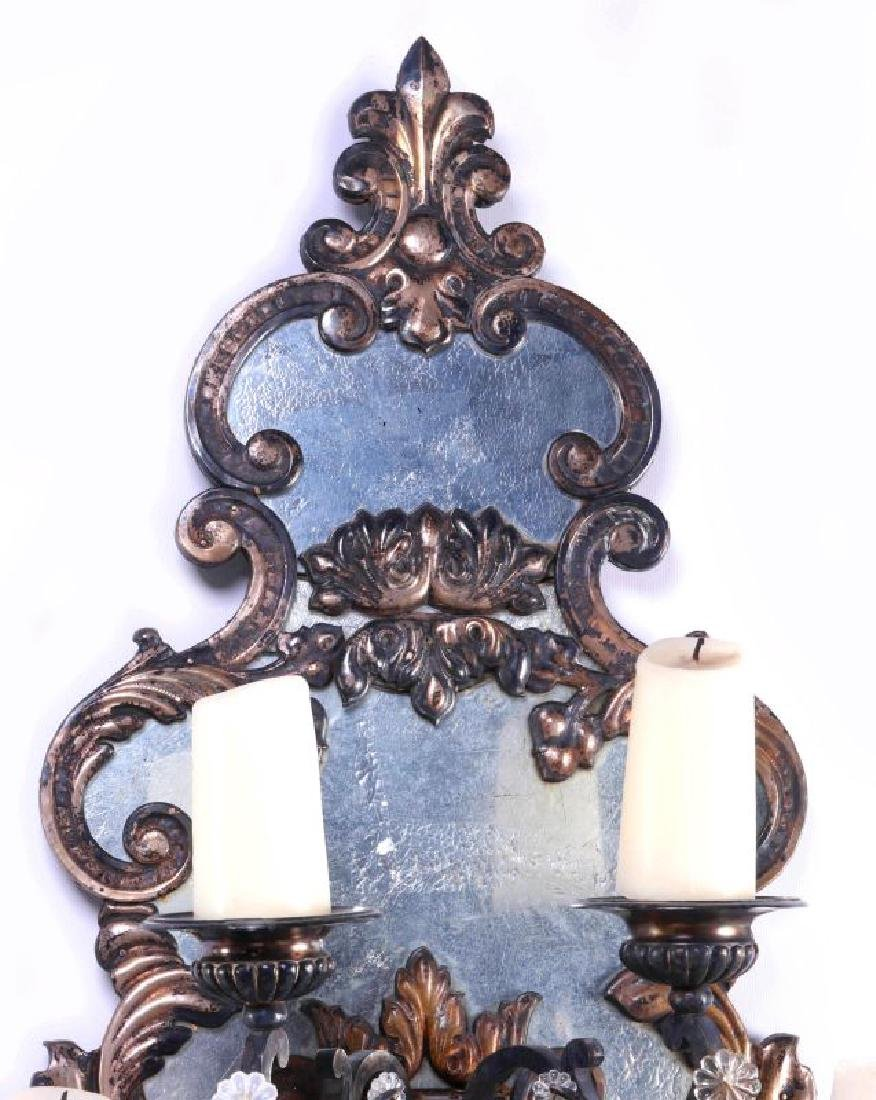 EXCEPTIONAL MIRRORED GIRANDOLE WALL SCONCE PAIR - 12