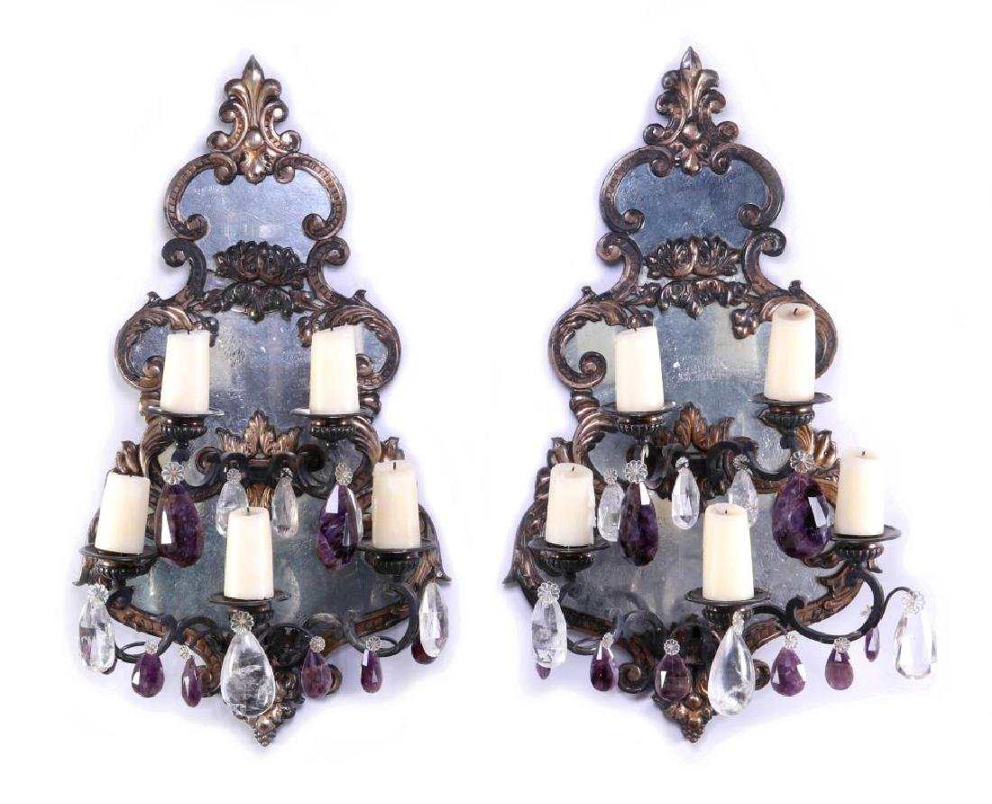 EXCEPTIONAL MIRRORED GIRANDOLE WALL SCONCE PAIR
