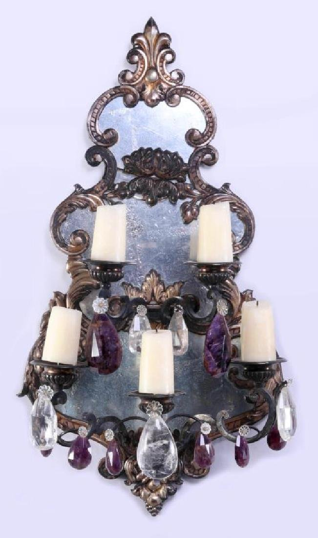 EXCEPTIONAL MIRRORED GIRANDOLE WALL SCONCE PAIR - 2