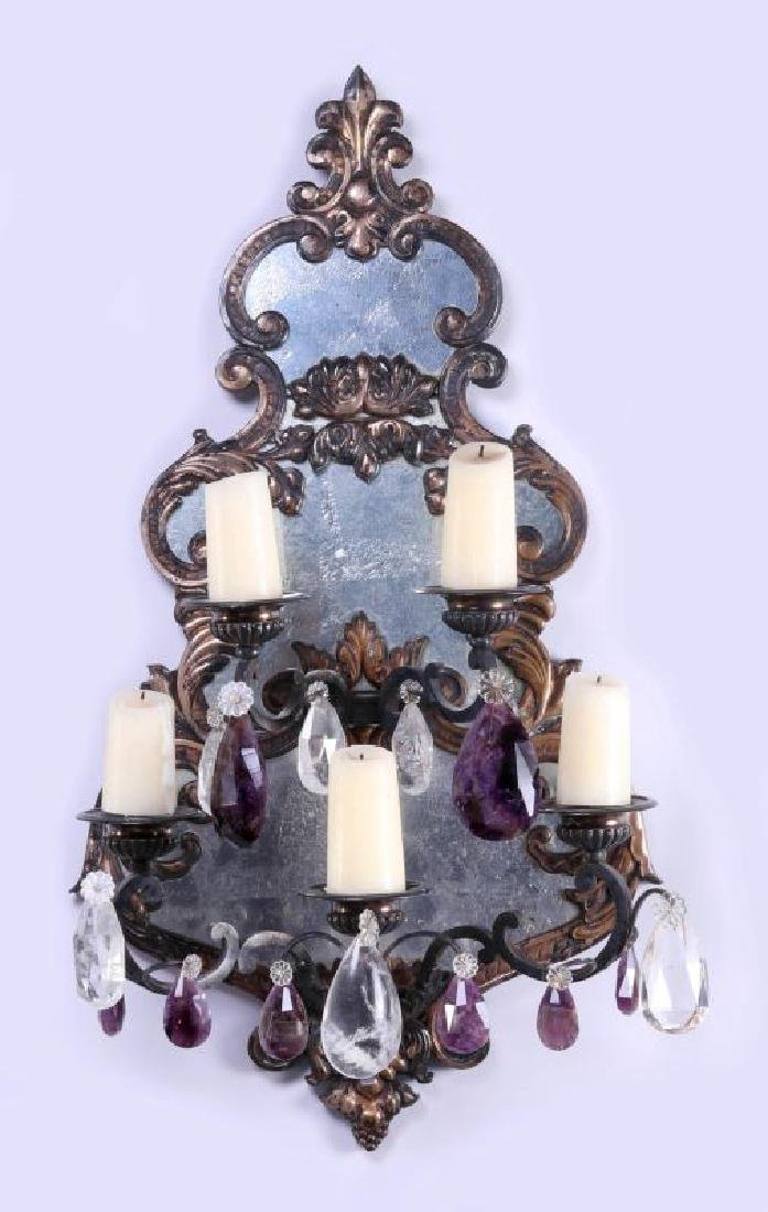 EXCEPTIONAL MIRRORED GIRANDOLE WALL SCONCE PAIR - 3