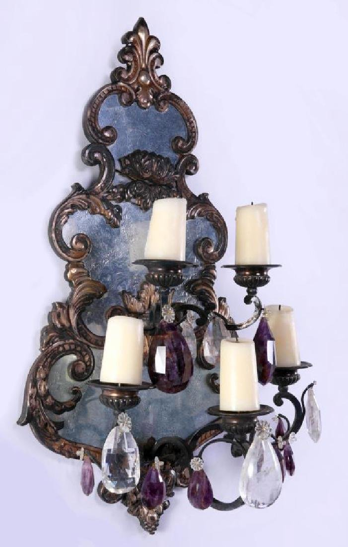 EXCEPTIONAL MIRRORED GIRANDOLE WALL SCONCE PAIR - 4