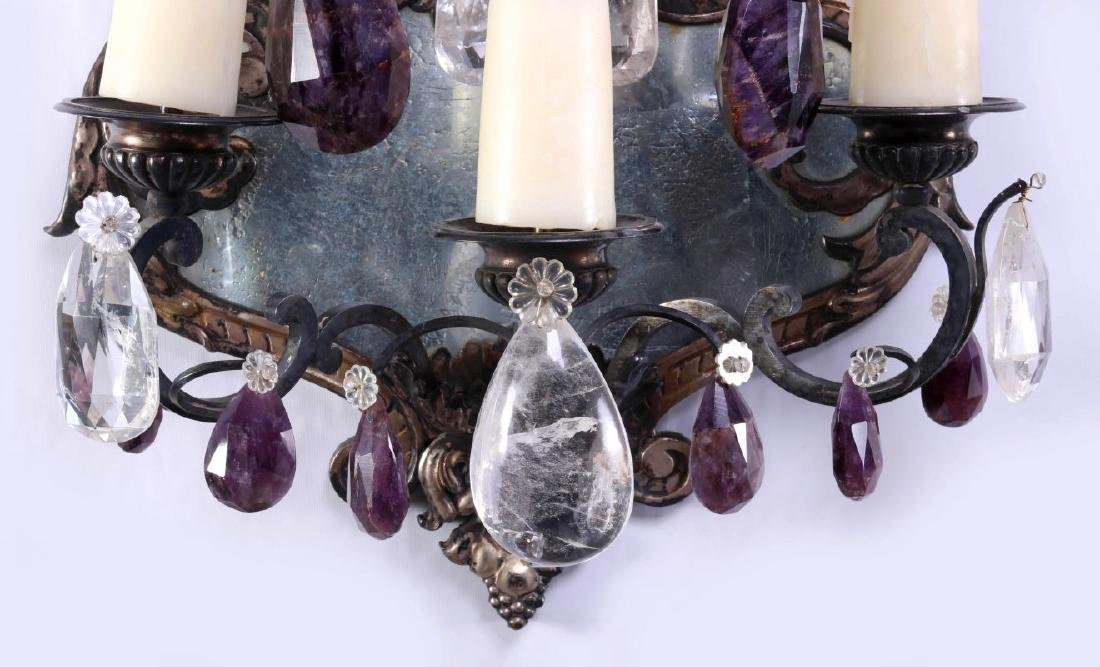 EXCEPTIONAL MIRRORED GIRANDOLE WALL SCONCE PAIR - 7