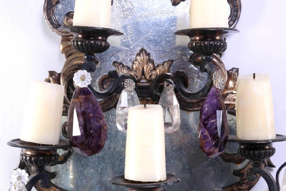 EXCEPTIONAL MIRRORED GIRANDOLE WALL SCONCE PAIR - 9