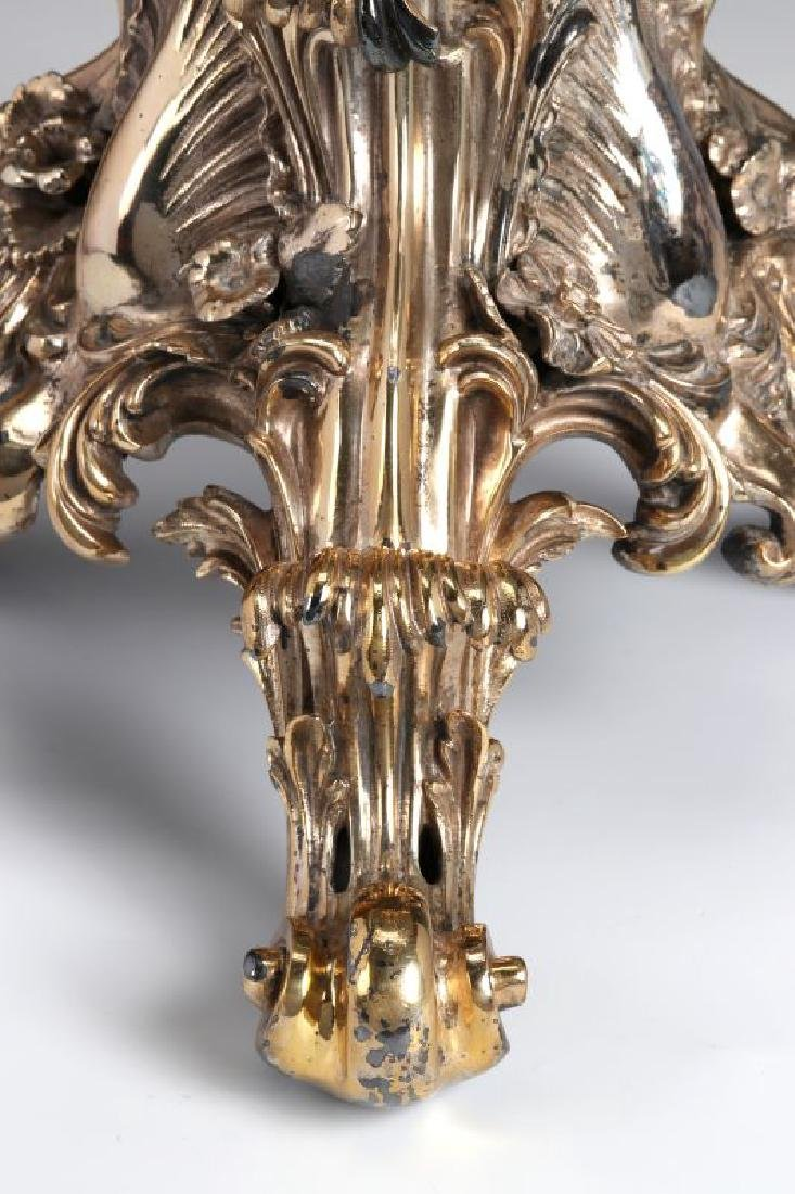 A SILVERED BRONZE AND CUT CRYSTAL ROCOCO TAZZA - 3