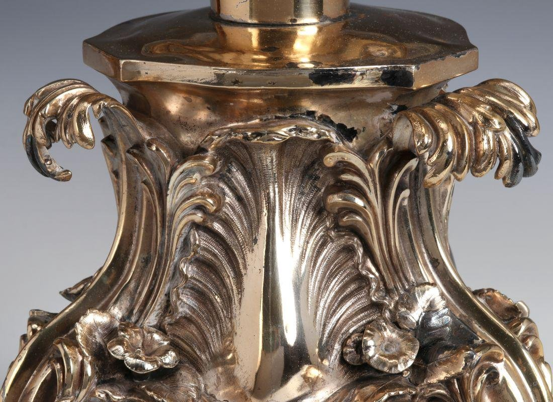 A SILVERED BRONZE AND CUT CRYSTAL ROCOCO TAZZA - 5