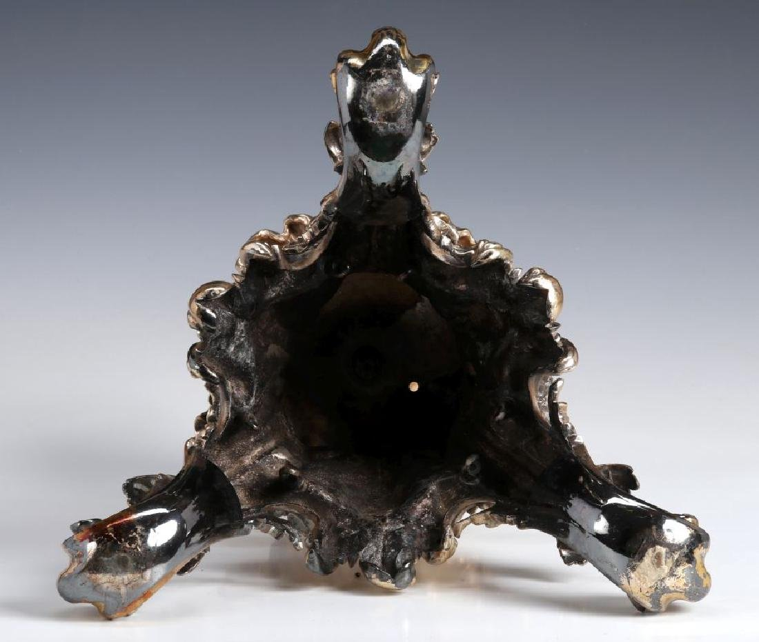 A SILVERED BRONZE AND CUT CRYSTAL ROCOCO TAZZA - 8