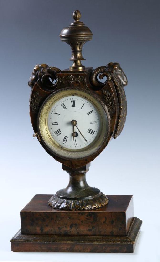 A 19TH C. FRENCH FAUX BURLED GRAIN CLOCK W/ BRONZE