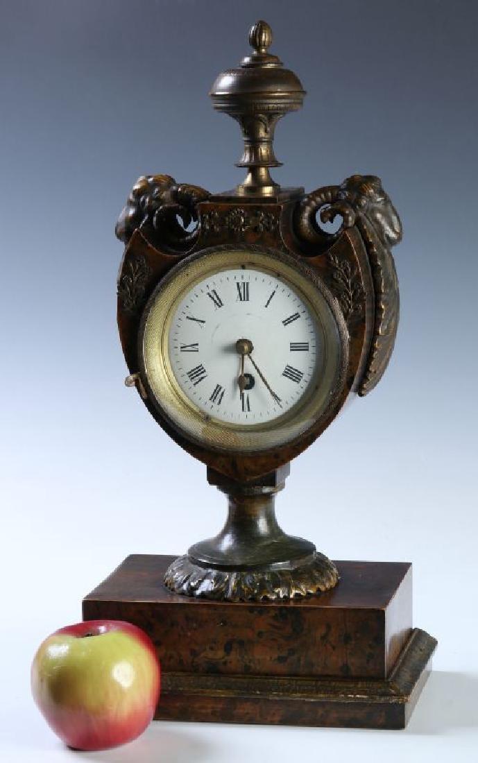 A 19TH C. FRENCH FAUX BURLED GRAIN CLOCK W/ BRONZE - 2