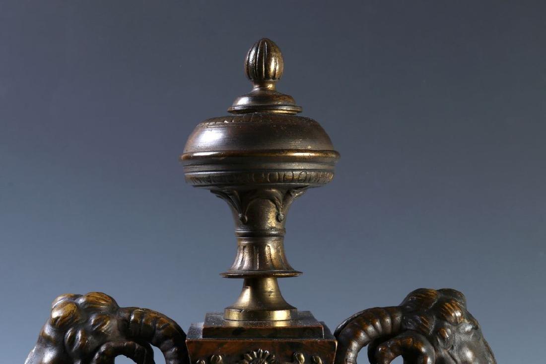 A 19TH C. FRENCH FAUX BURLED GRAIN CLOCK W/ BRONZE - 3