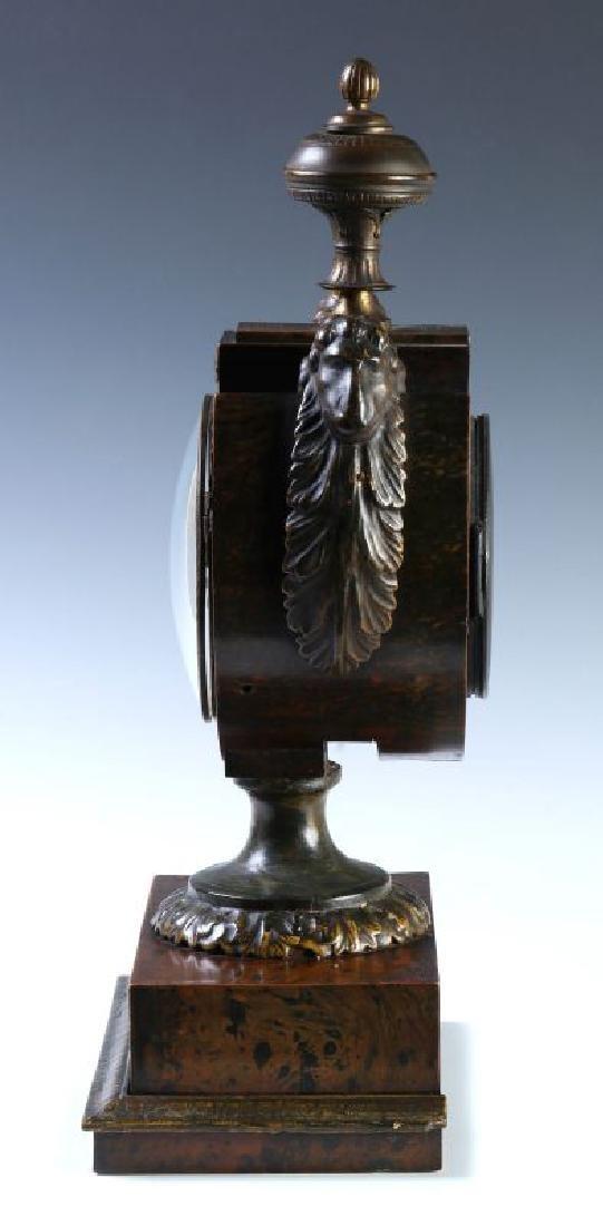 A 19TH C. FRENCH FAUX BURLED GRAIN CLOCK W/ BRONZE - 6