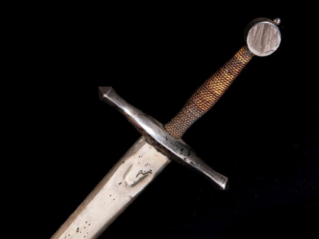 STEUBEN EXCALIBUR PAPERWEIGHT WITH STERLING SWORD - 10