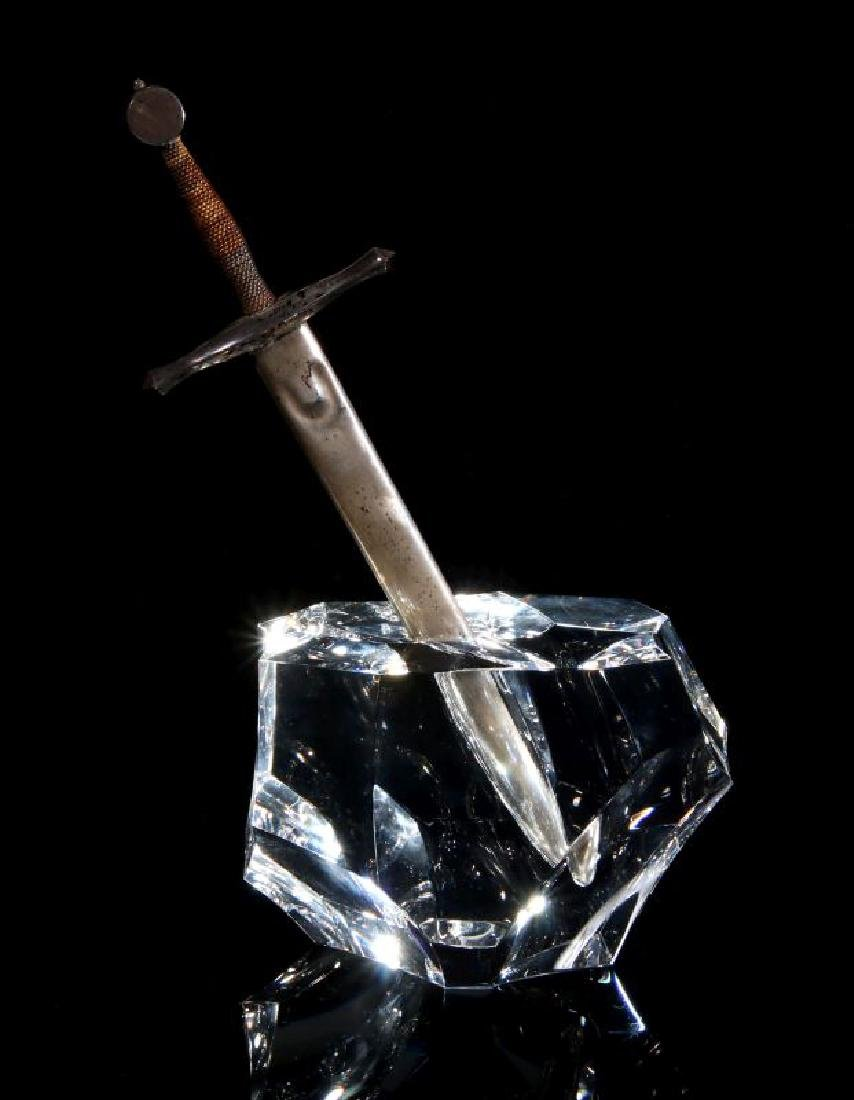 STEUBEN EXCALIBUR PAPERWEIGHT WITH STERLING SWORD - 4