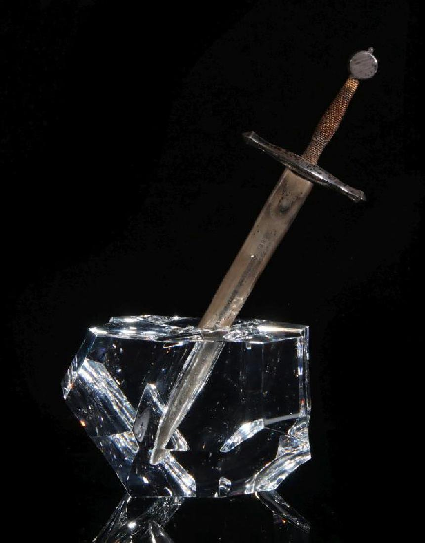 STEUBEN EXCALIBUR PAPERWEIGHT WITH STERLING SWORD - 6