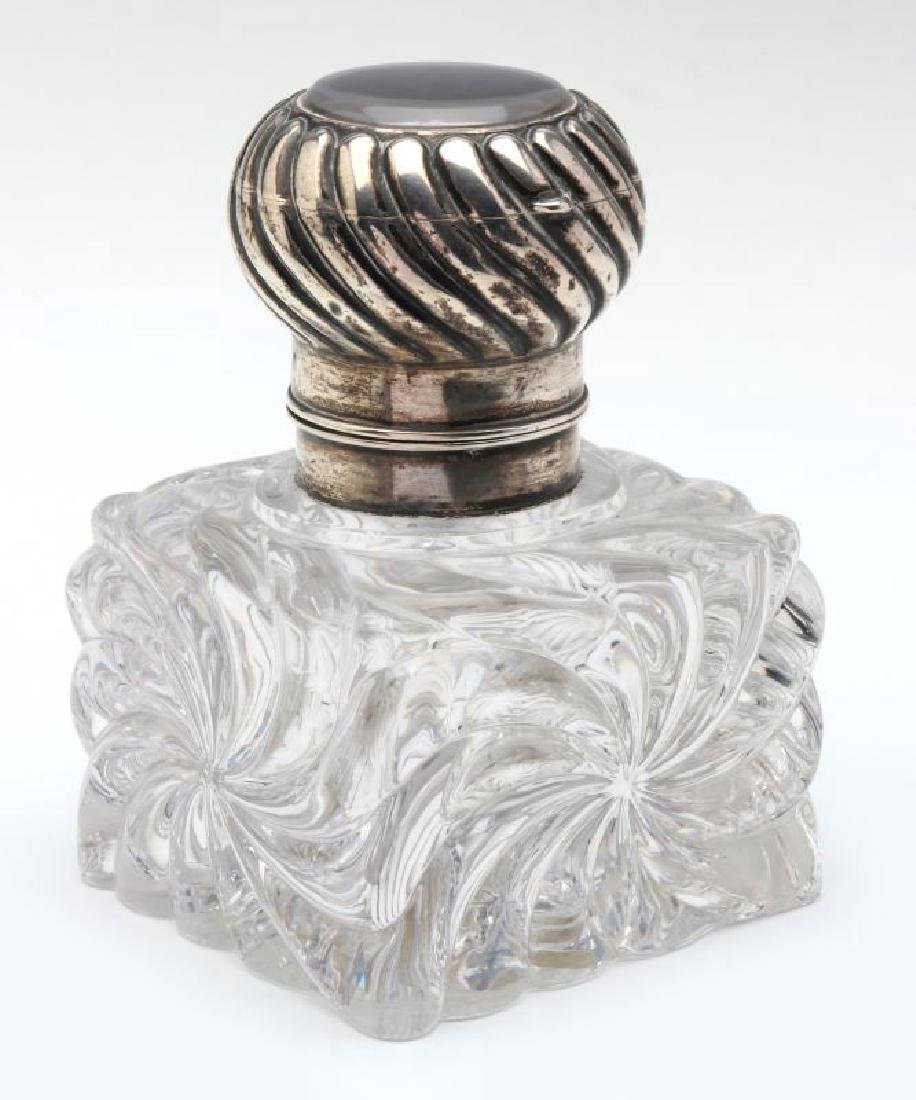 A BACCARAT CRYSTAL INKWELL WITH SECOND RECEPTACLE