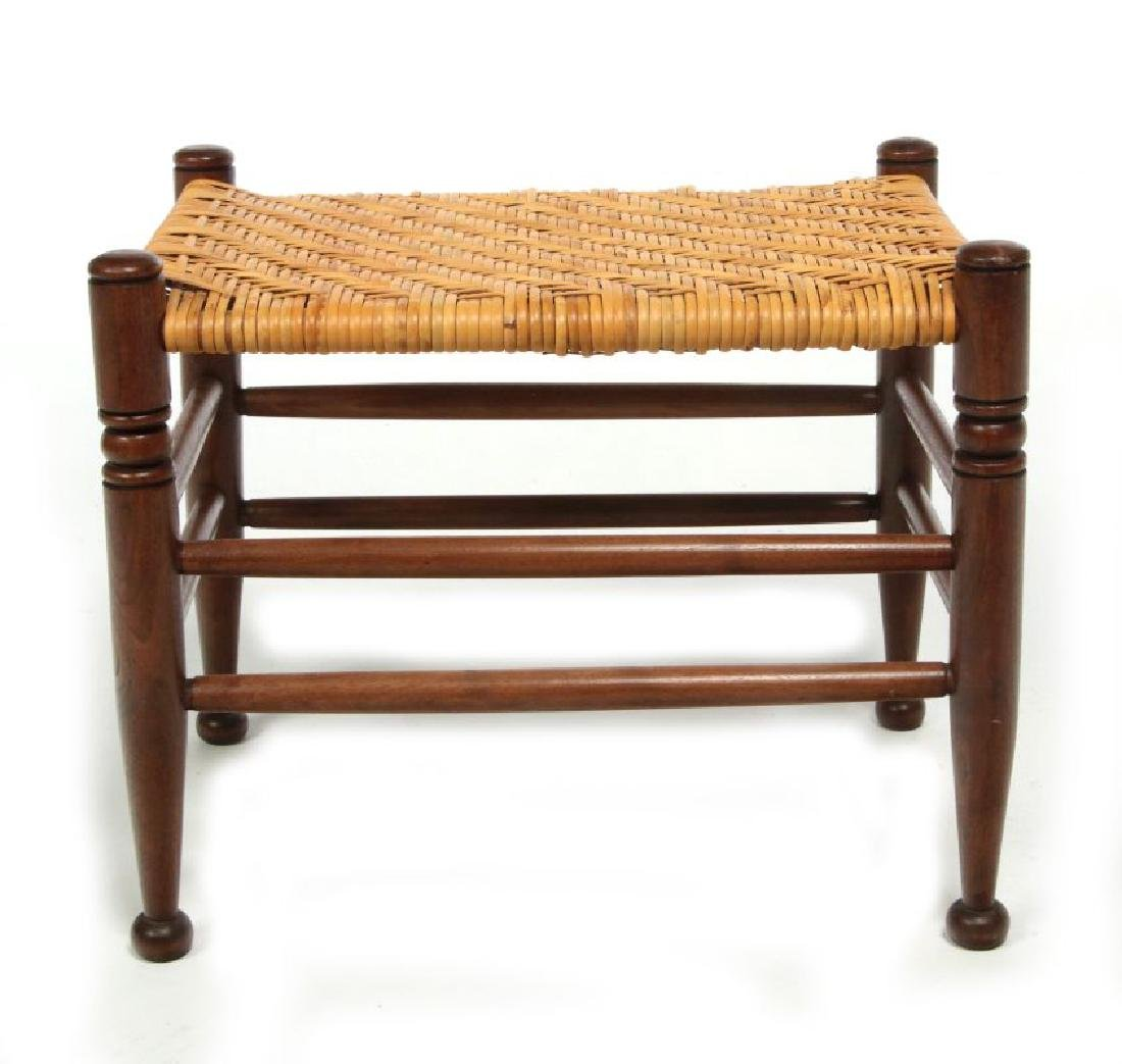 AN EARLY  20TH CENTURY RATTAN TOP FOOT STOOL - 3