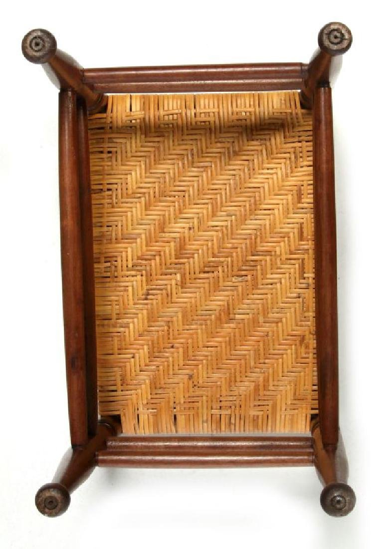 AN EARLY  20TH CENTURY RATTAN TOP FOOT STOOL - 4