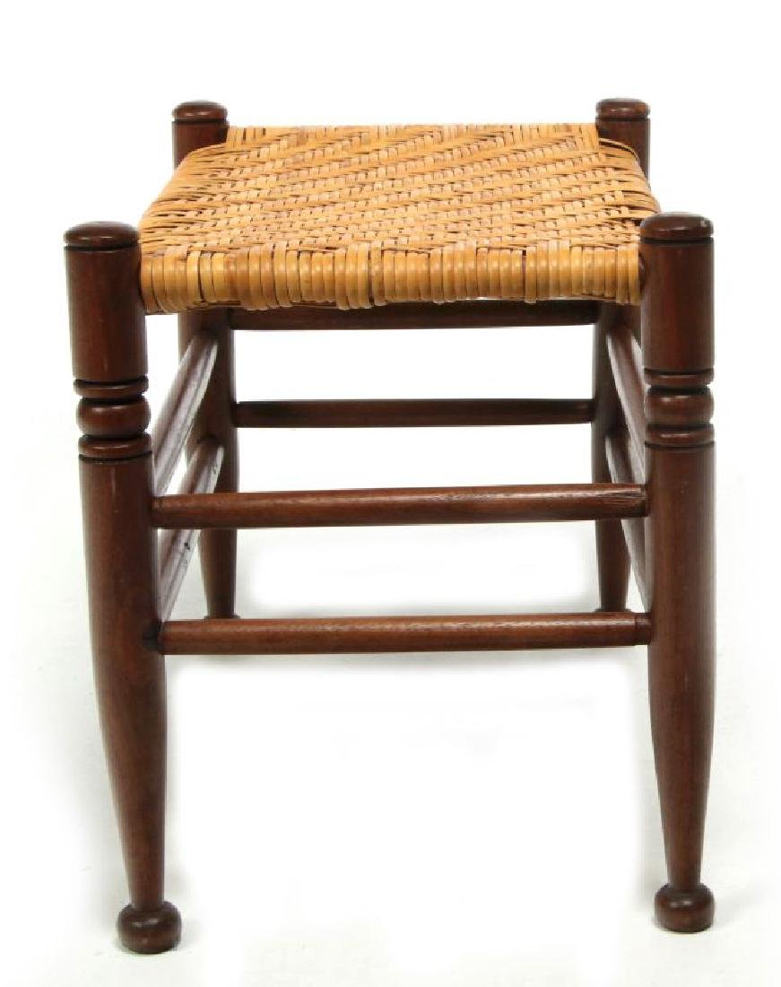 AN EARLY  20TH CENTURY RATTAN TOP FOOT STOOL - 5