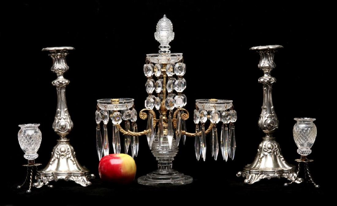 FRENCH CRYSTAL AND ORMOLU GIRANDOLE WITH ADDITIONS - 2