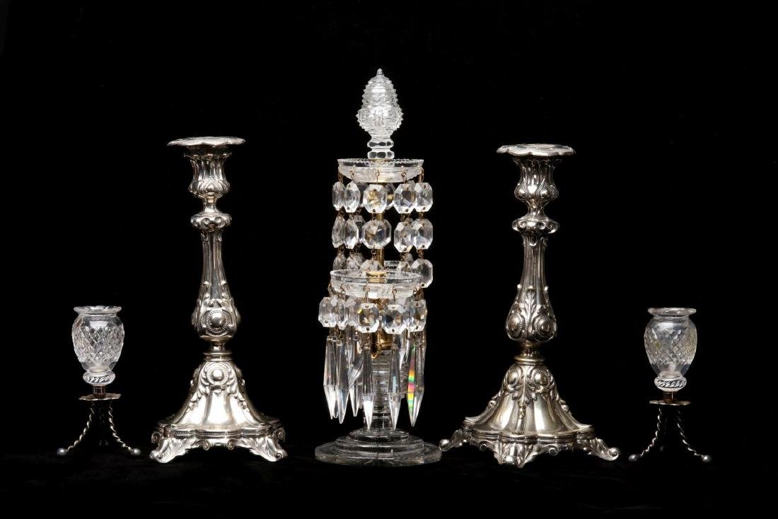 FRENCH CRYSTAL AND ORMOLU GIRANDOLE WITH ADDITIONS - 6