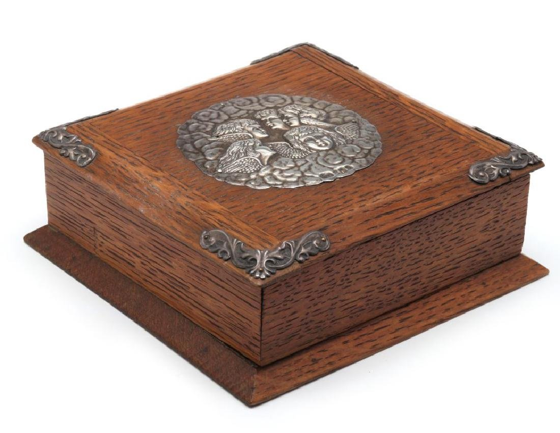 1905 OAK BOX WITH STERLING SILVER REYNOLDS ANGELS