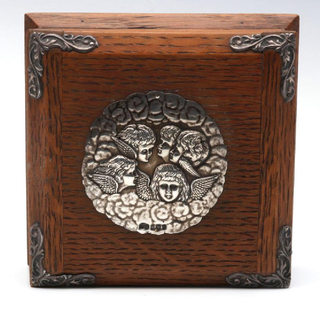 1905 OAK BOX WITH STERLING SILVER REYNOLDS ANGELS - 2