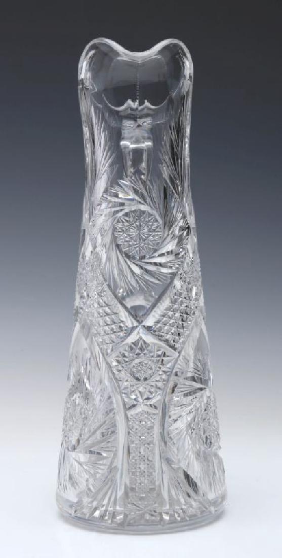 AN ABP CUT GLASS EWER,  13-INCHES - 3
