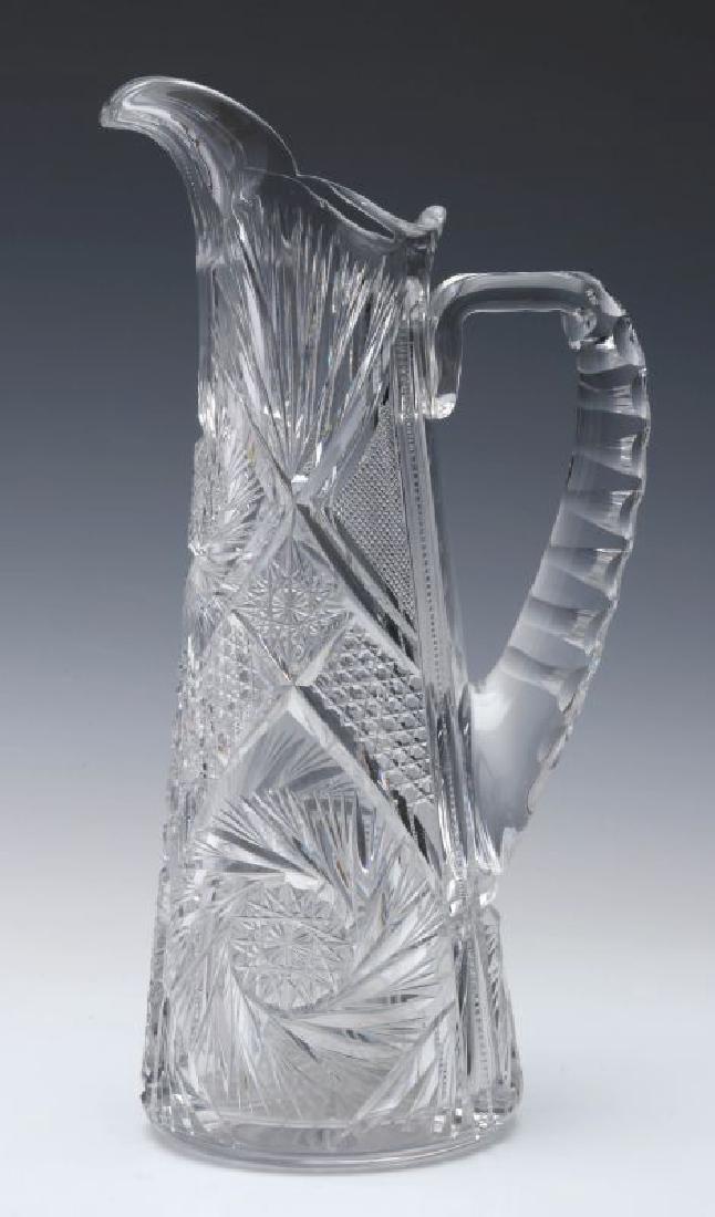 AN ABP CUT GLASS EWER,  13-INCHES - 5