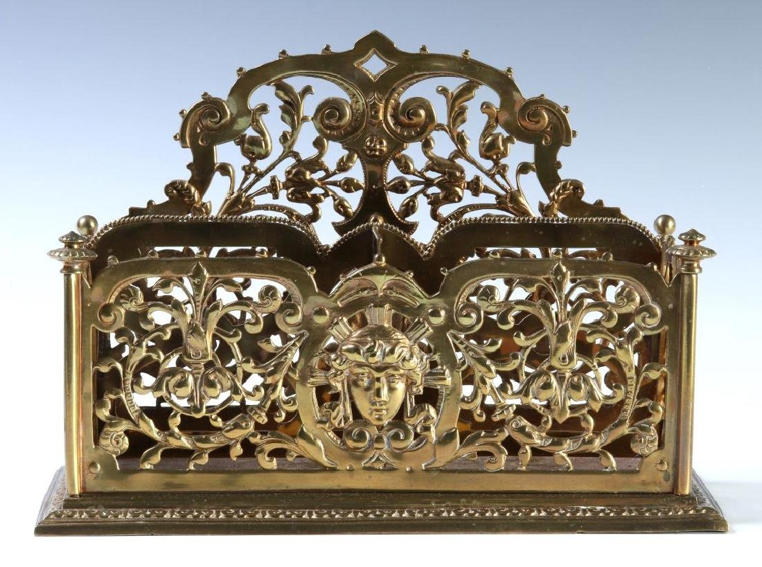 A COLLECTION OF ORNATE BRASS VICTORIAN DESK ITEMS - 3