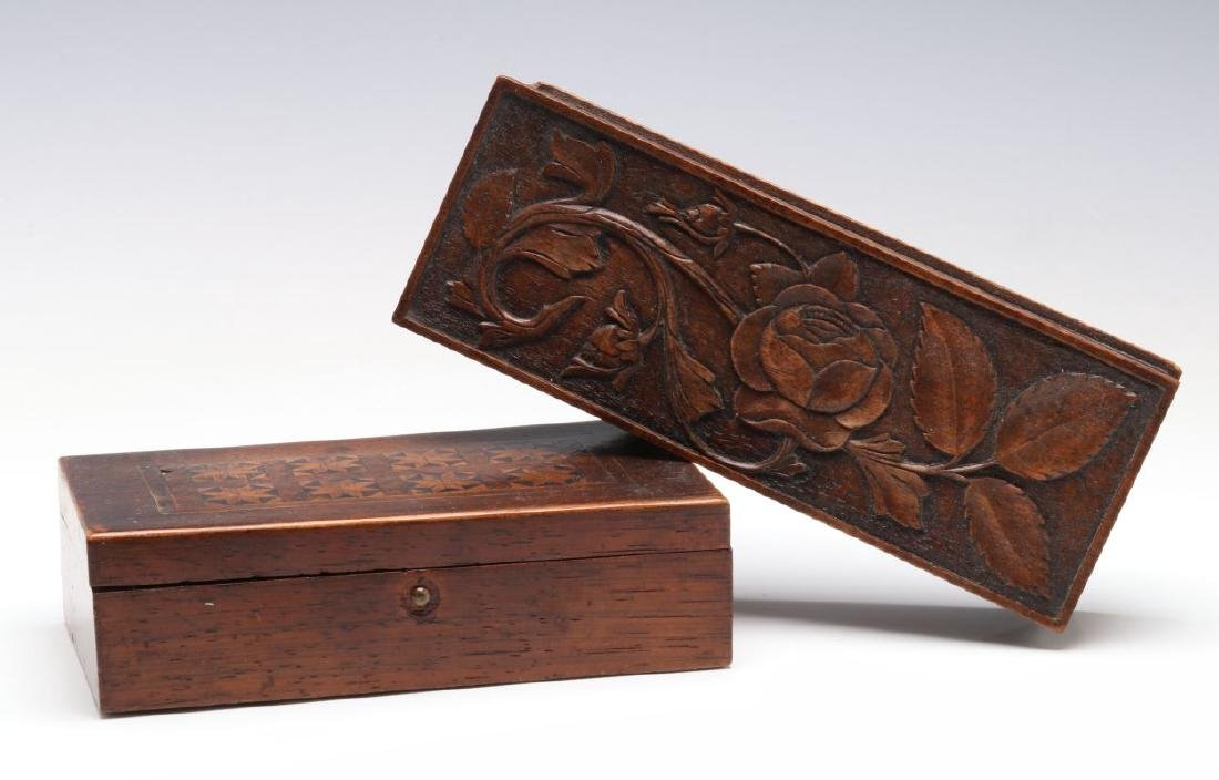 CIRCA 1900 CARVED AND INLAID BOXES