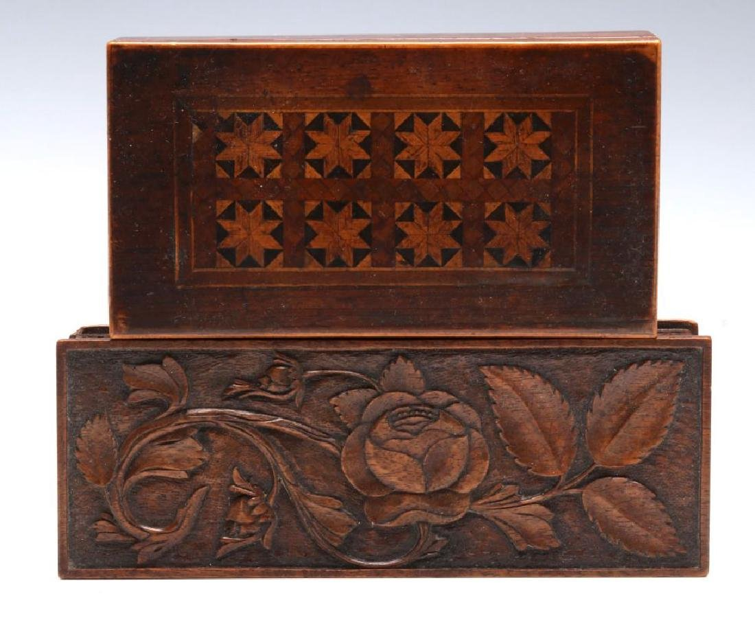 CIRCA 1900 CARVED AND INLAID BOXES - 3