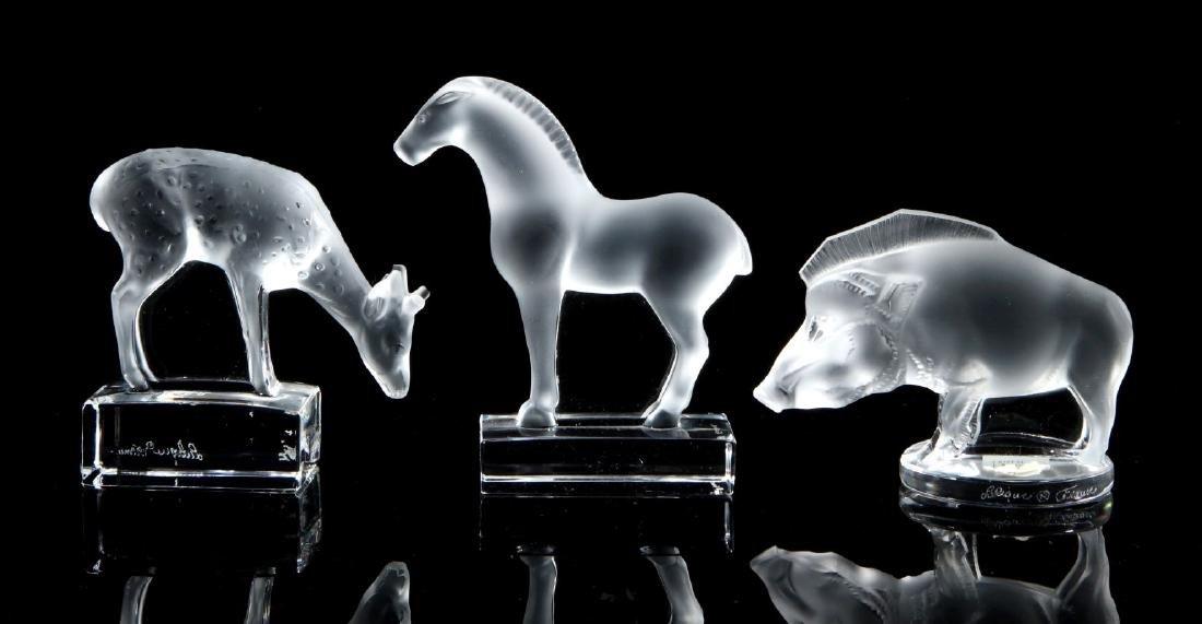 THREE LALIQUE CRYSTAL ANIMAL FIGURES