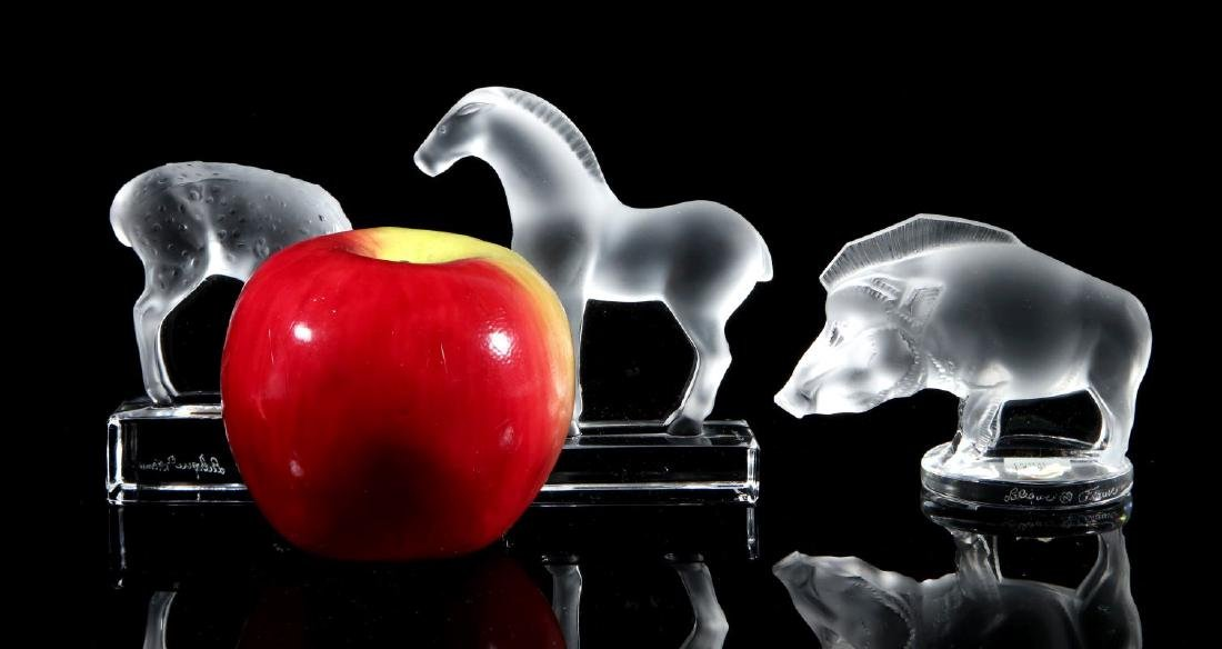 THREE LALIQUE CRYSTAL ANIMAL FIGURES - 2
