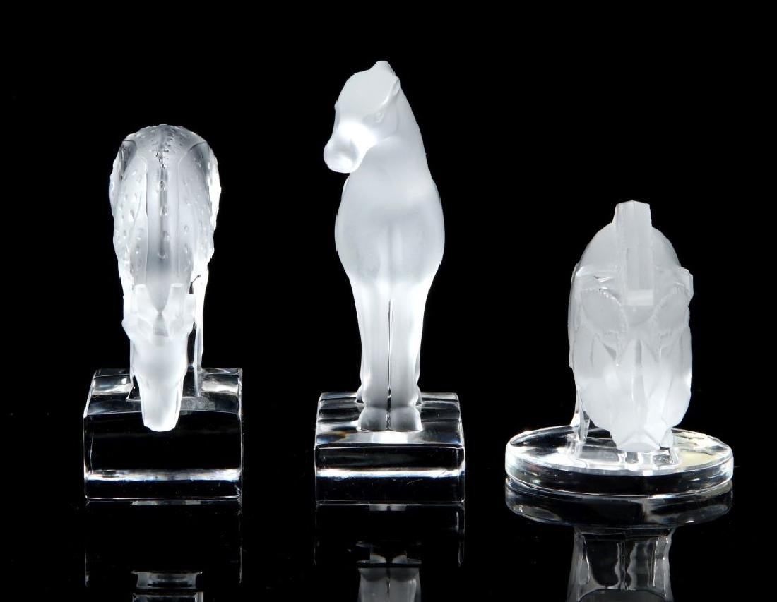 THREE LALIQUE CRYSTAL ANIMAL FIGURES - 3