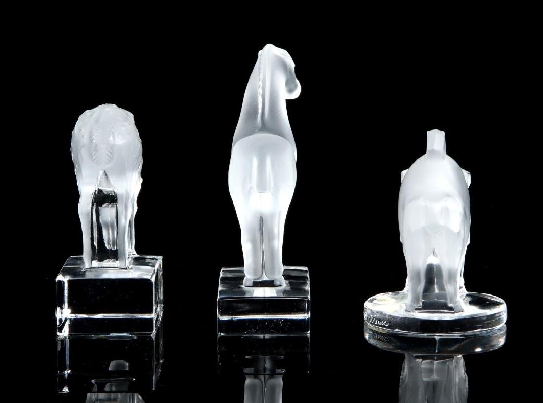THREE LALIQUE CRYSTAL ANIMAL FIGURES - 5