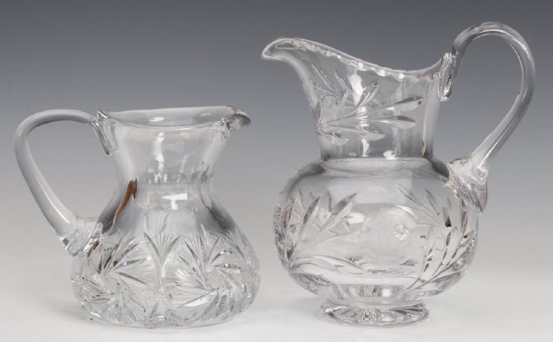 TWO CUT GLASS PITCHERS