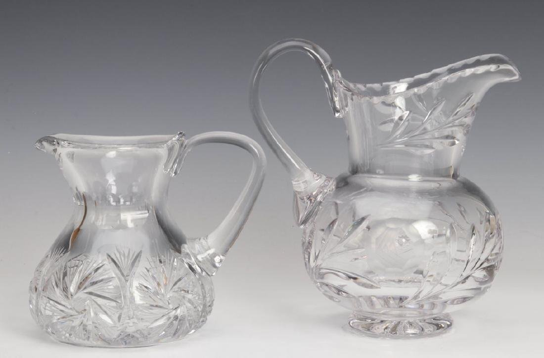TWO CUT GLASS PITCHERS - 6