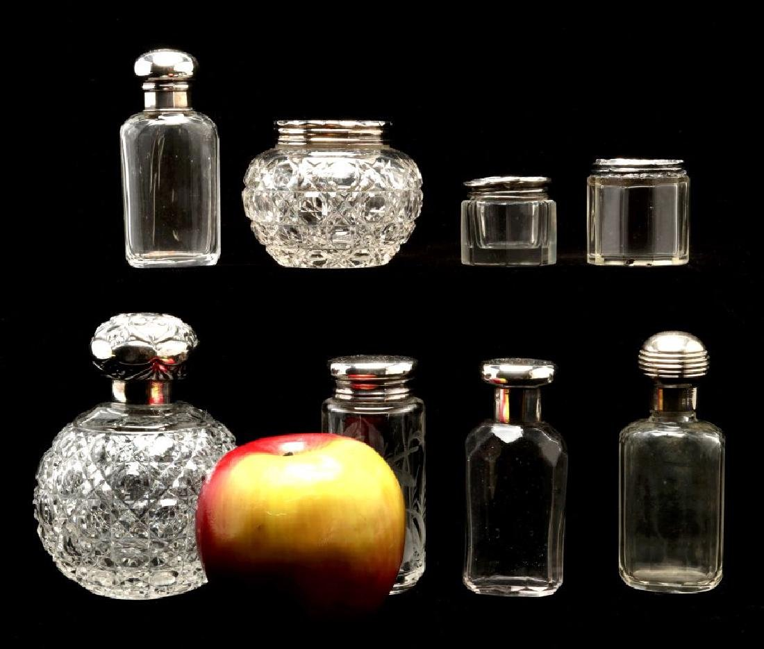 EIGHT STERLING SILVER TOPPED DRESSER JARS - 2