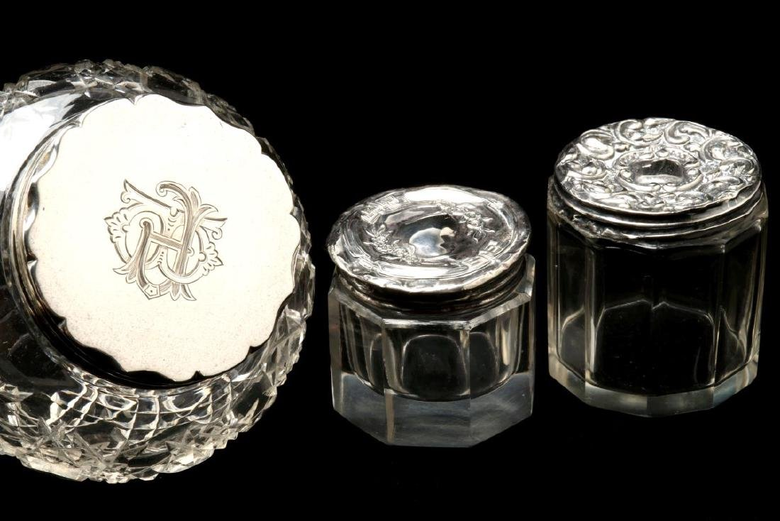EIGHT STERLING SILVER TOPPED DRESSER JARS - 5